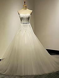 Vestido de Noiva Trapézio Coração Cauda Corte Tule