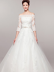 A-line Court Train Wedding Dress -Bateau Lace