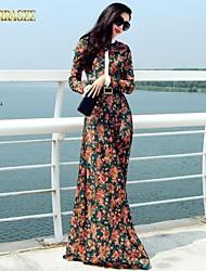 verragee® complexo Gulei si de mangas compridas vestido floral tamanho grande vestido mulheres partido