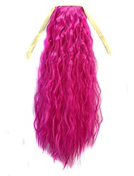 Tie Long Women Corn Roll Wavy Ponytail (Pink)
