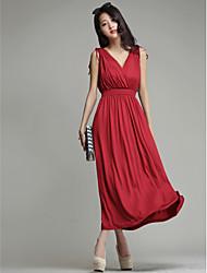 Holiday Lady Sheath V-neck Ankle-length Milk Silk Formal Dress