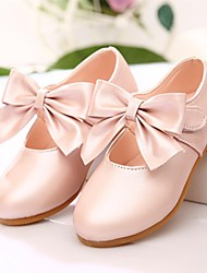 Girls' Flats Leatherette Spring Fall Outdoor Dress Bowknot Flat Heel Peach Pink Gold Flat