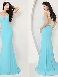 Formal Evening Dress - Pool Plus Sizes / Petite Sheath/Column Jewel Knee-length / Court Train