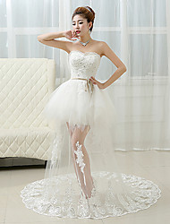 Ball Gown Wedding Dress See-Through Wedding Dresses Court Train Sweetheart Lace