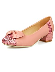 Women's Shoes Glitter Chunky Heel Round Toe Pumps Shoes with Bowknot Dress More Colors available