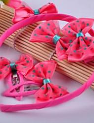 Girl's Lovely Bow Accessory Set(Headband&Hair Ties&Clips)
