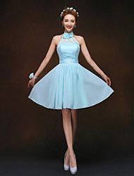 Knee-length Bridesmaid Dress A-line / Princess High Neck with