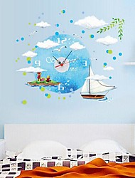 Wall Clock Stickers Wall Decals, Boat and Buttery Feature Removable  PVC Wall Stickers