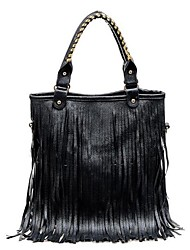 Women's Black Fashion Tassels PU Handbag