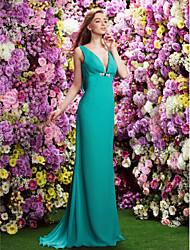 Sweep/Brush Train Chiffon Bridesmaid Dress - Jade Sheath/Column V-neck
