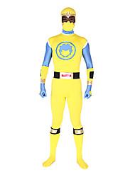Yellow and Blue Spandex Masked Superhero Zentai Costume