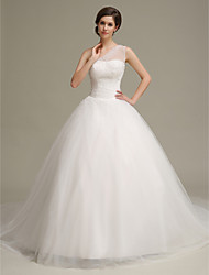 Ball Gown Wedding Dress Chapel Train One Shoulder Tulle with