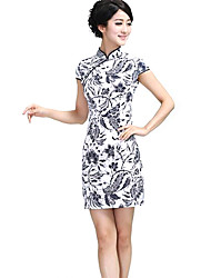 Women's Vintage / Party Print Sheath Dress , Stand Mini Silk