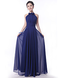 Floor-length Bridesmaid Dress - Royal Blue Sheath/Column High Neck