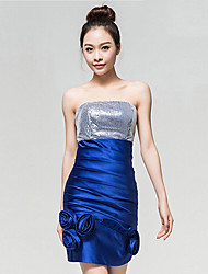 Cocktail Party Dress - Royal Blue Sheath/Column Strapless Ankle-length Silk