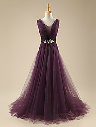 Formal Evening Dress A-line V-neck Court Train Organza with Beading / Bow(s)