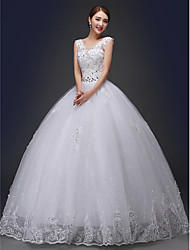 Ball Gown Wedding Dress Sparkle & Shine Floor-length V-neck Lace with Appliques Beading Sash / Ribbon