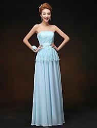 Floor-length Chiffon Bridesmaid Dress - Sky Blue Sheath/Column Strapless