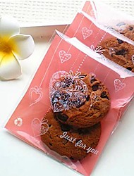 50pcs Sweet Heart Cookie Bakery Candy Biscuit Jewelry Gift Plastic Packaging Bag Wedding Shower Birthday Decorations