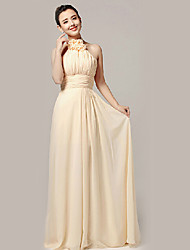 Formal Evening Dress - Champagne A-line Jewel Floor-length Nylon Taffeta