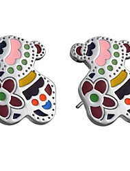 Women's Color Teddy Bear Titanium Steel Earrings