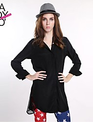 haoduoyi® Women's Boyfriend Style Back Shoulder And Two Sides Mesh Joint Shirt Dress
