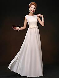 Sheath/Column Bateau Floor-length Bridesmaid Dress