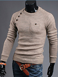 Johnny Men's Round Sweaters , Cotton Blend Long Sleeve Casual Button Fall