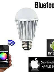 e27 7W luz colorida do bluetooth inteligente lâmpada levou para ios / android