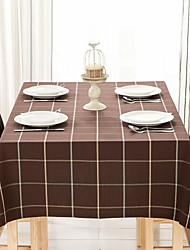 "Brown Plaid Rectangular Table Cloth, Polyester 51""x70"", 55x94"""