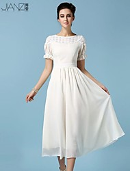 Women's Sexy/Cute/Party/Plus Sizes Micro-elastic Short Sleeve Midi Dress (Chiffon/Polyester)