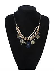 Women Vintage Badge Pendant Cluster Layers Pearls Chain Bib Necklace
