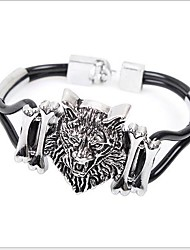 Tina -- European and American Fashion Alloy Lion Leather Bracelet in Party