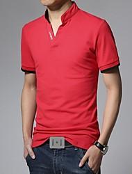 coreano moda cultivo curtos polos de mangas dos homens