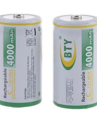 BTY 4000mAh 1.2V C-type Rechargeable NiMH Battery (2pcs)