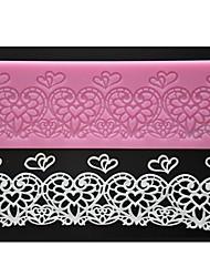 quatre c couleur dentelle gâteau pad coeur mat dentelle de silicone du moule de gaufrage rose