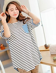 Maternity Short Sleeves Striped Loose Big Size T-Shirt Tops