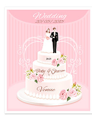 Personalized Wedding Invitations Pink Wedding Cake Pattern Save The Date Paper Card 15cm x 12.5cm 50pcs/Set