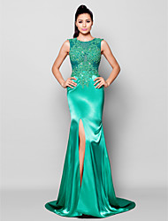 TS Couture® Formal Evening Dress - Furcal Plus Size / Petite Trumpet / Mermaid Jewel Court Train Satin with Appliques / Beading / Split Front