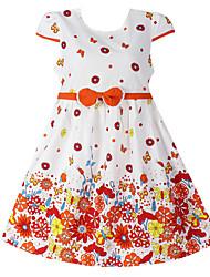 Robe Fille de Fleur Coton Eté / Printemps Orange