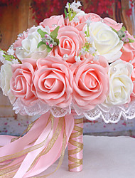A Bouquet of 30 PE Simulation Roses Wedding Bouquet Wedding Bride Holding Flowers,Pink and White