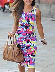 Women's Beach Bodycon Dress,Print Round Neck Knee-length Sleeveless Multi-color Spring