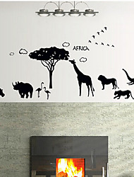 Environmental Removable African Elephant And Lion PVC Tags & Sticker