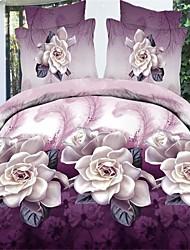 Shuian® Duvet Cover Set,3D Violet Flower Bedding Bed Sheet Real Flowers Style 4Pcs Bedcover Bedding Bed Sheet