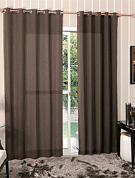 Modern One Panel Solid Brown Living Room Polyester Panel Curtains Drapes