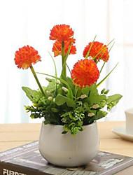 hyfrangeas laranja artificial flores com vaso