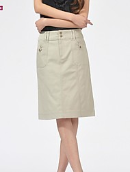 Women's Green/Beige Skirts , Work Knee-length