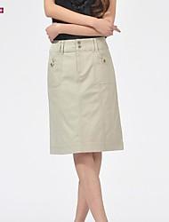 Women's Work Micro-elastic Medium Knee-length Skirts (Cotton/Spandex)