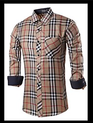 Men's Long Sleeve Shirt , Cotton Casual/Work Striped/Plaids & Checks