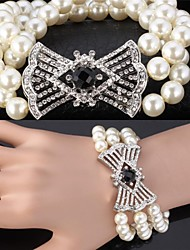 InStyle Luxury Big Pearl Beads Bangle Bracelet SWA Rhinestone Jewelry for women High Quality